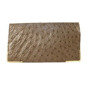 GUCCI Vintage Ostrich Billfold Rolled Gold